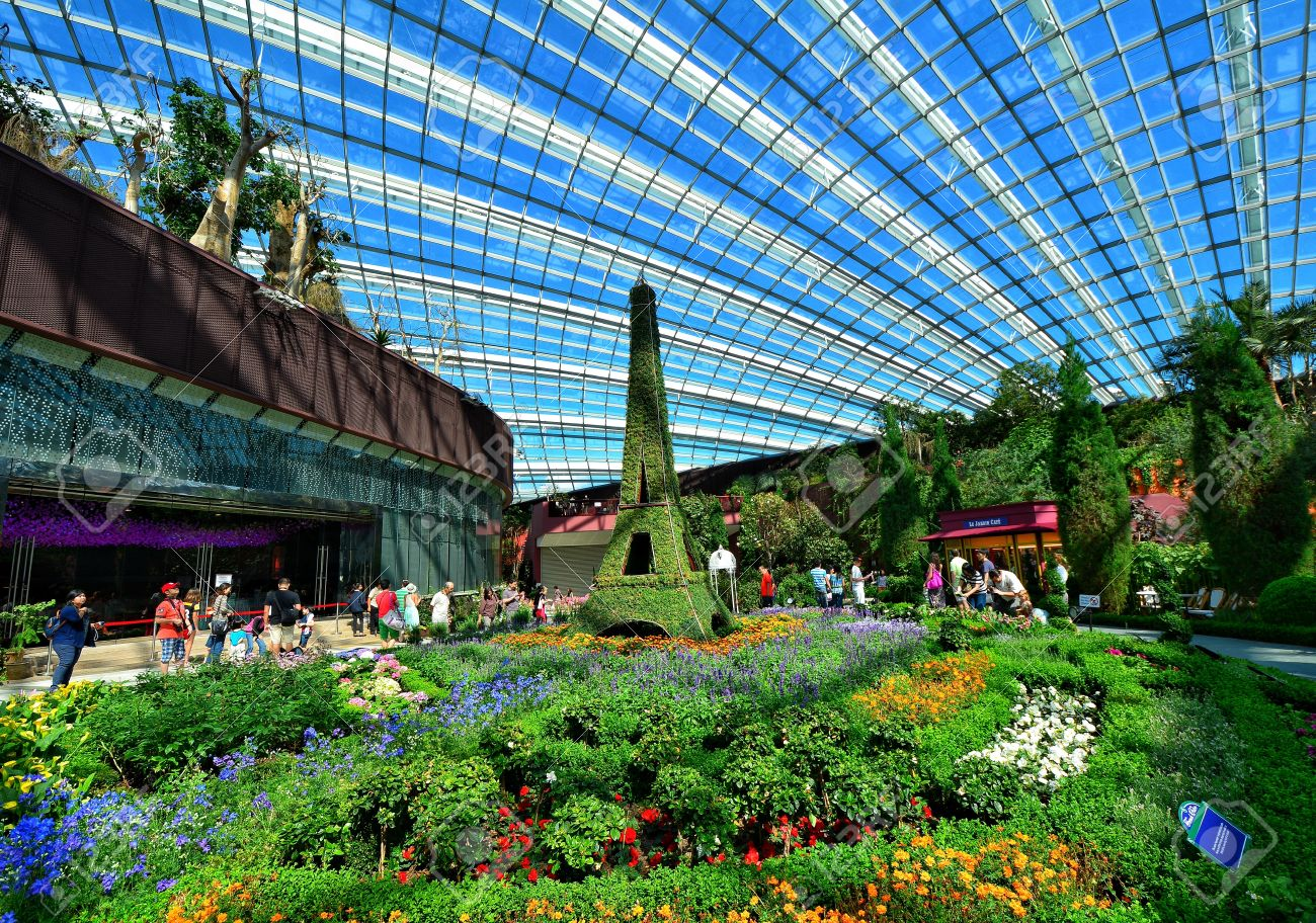 a photograph inside the flower dome in gardens by the bay in singapore stock photo