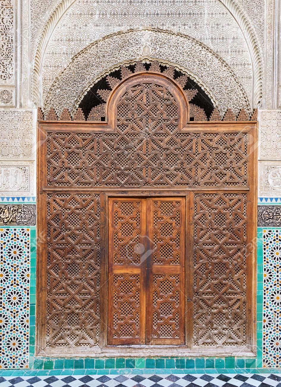 Ancient oriental wooden door in Fes Morocco. Stock Photo - 46095001 & Ancient Oriental Wooden Door In Fes Morocco. Stock Photo Picture ...