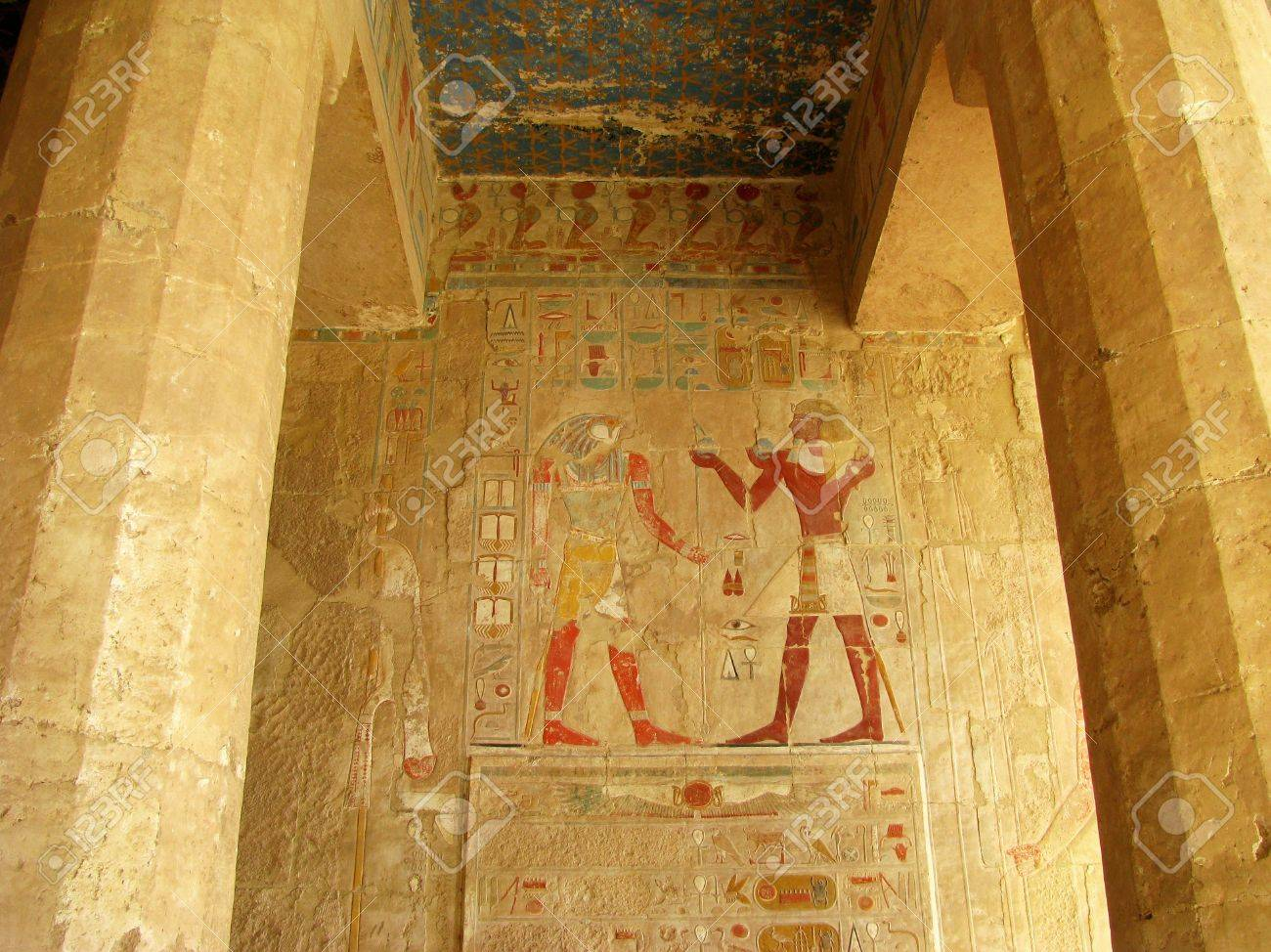 Polychromed carvings of the pharaoh and god horus at the awesome
