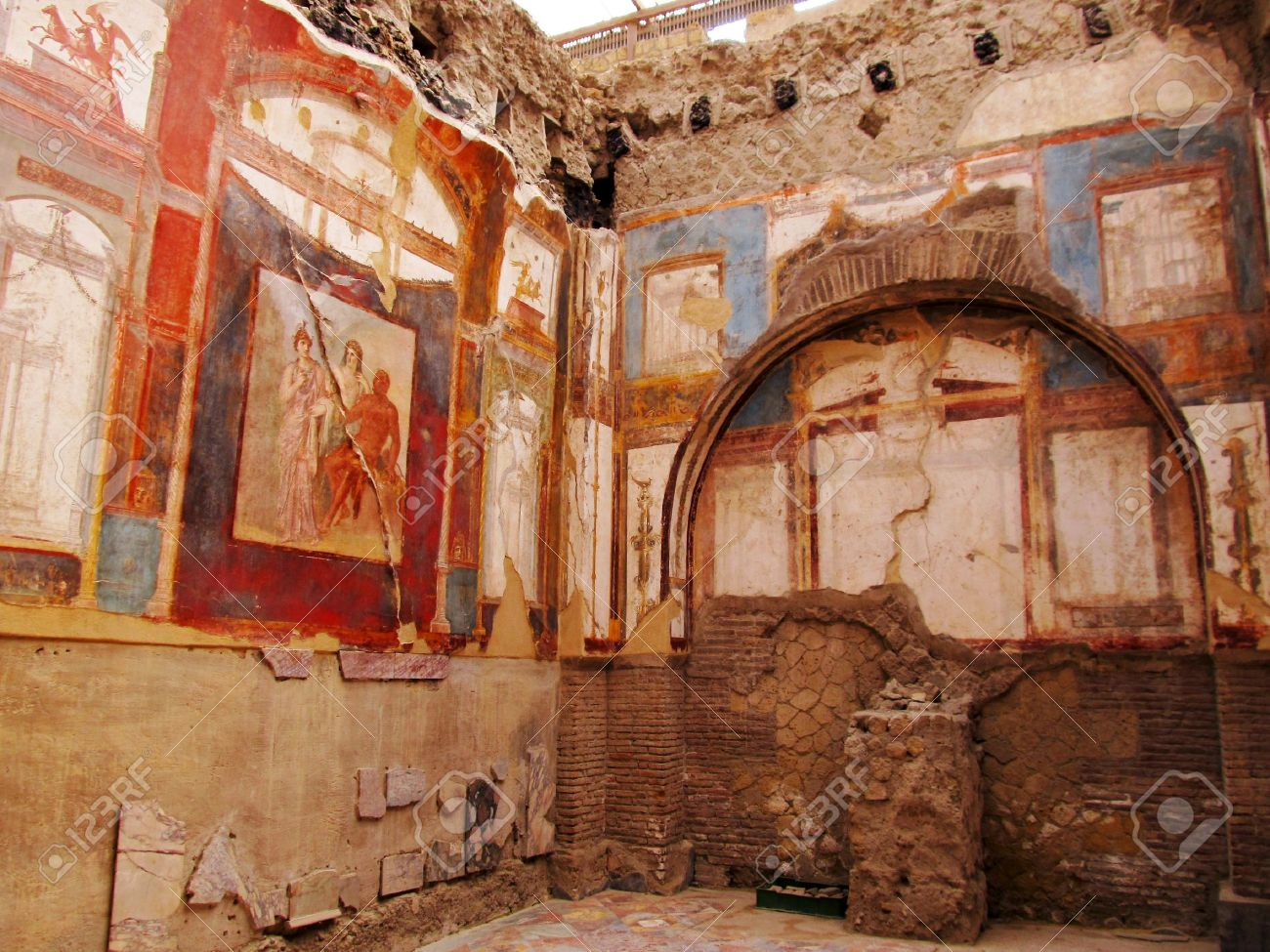ancient painted wall frescos at the ancient roman city of ancient painted wall frescos at the ancient roman city of herculaneum which was destroyed and