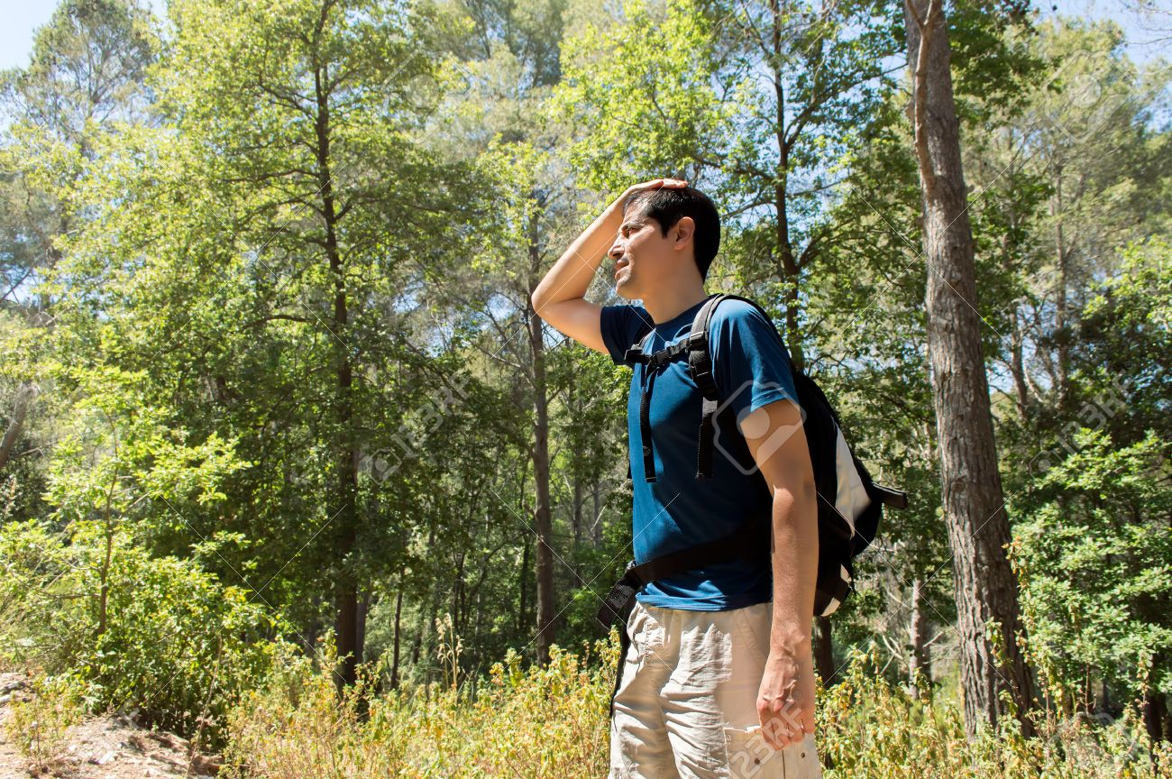 Dehydration thirst heat stroke exhaustion concept with man hiker tired - 46497791