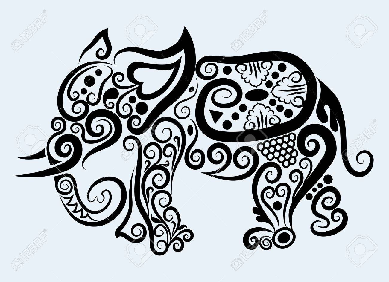 decorative mammal animal and floral ornament decoration Stock Vector - 13094612