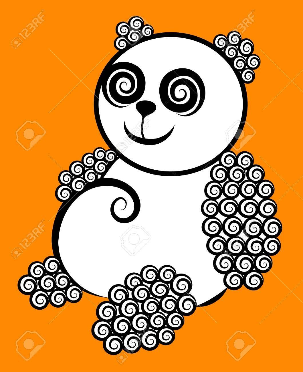 Panda curly decorative Stock Vector - 13608037