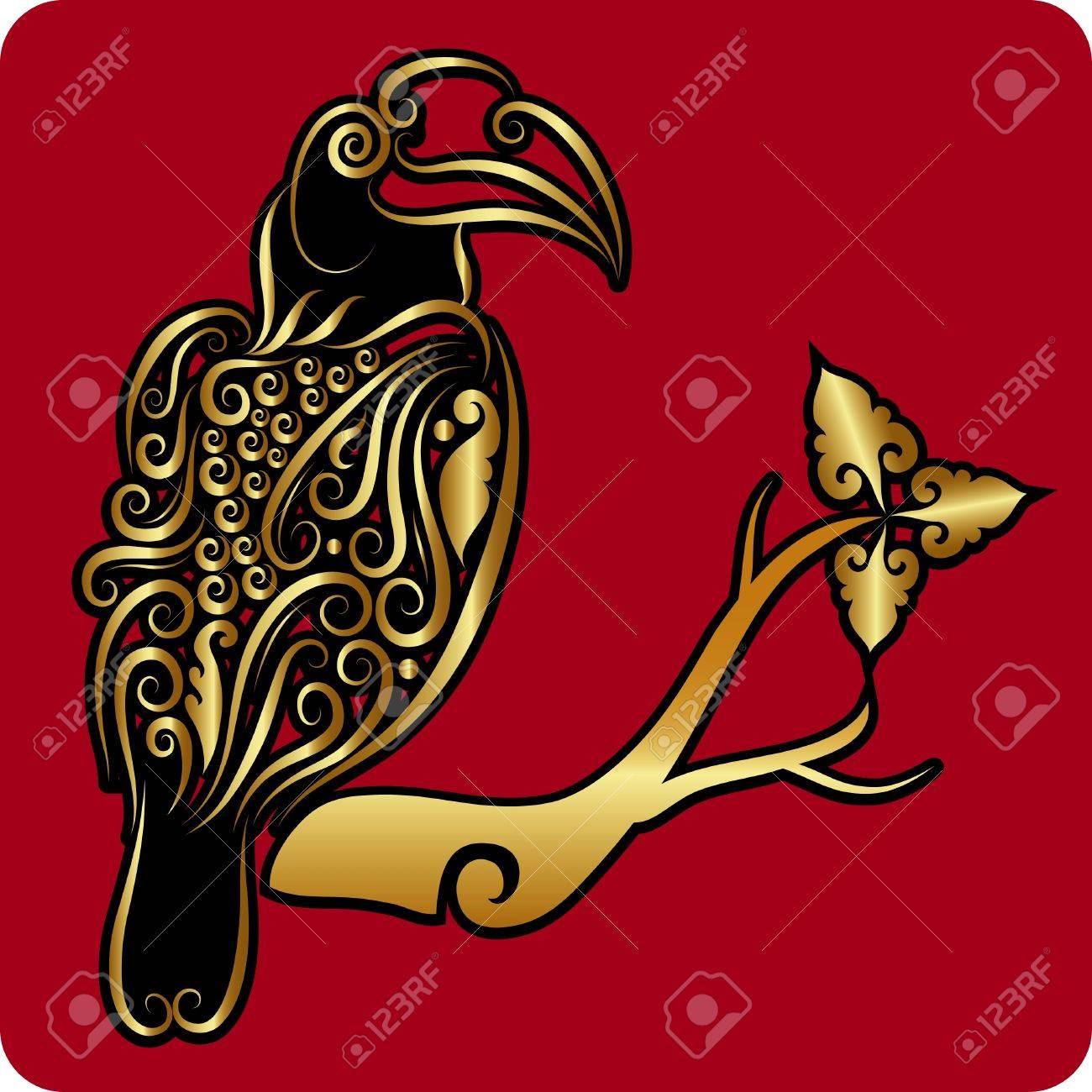Golden bird 2 ornament vector Stock Vector - 15330641