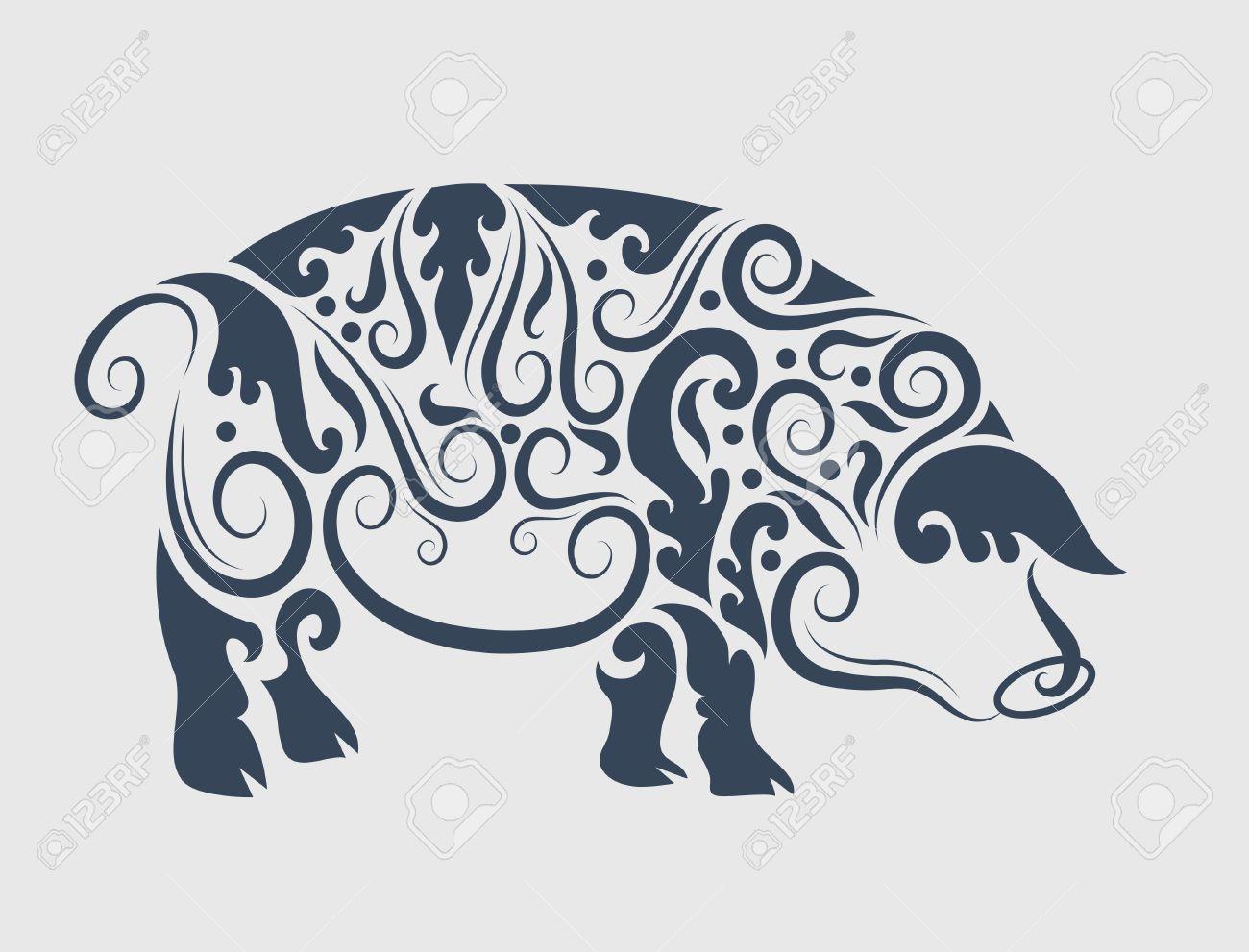 Pig flora ornament Stock Vector - 15409598