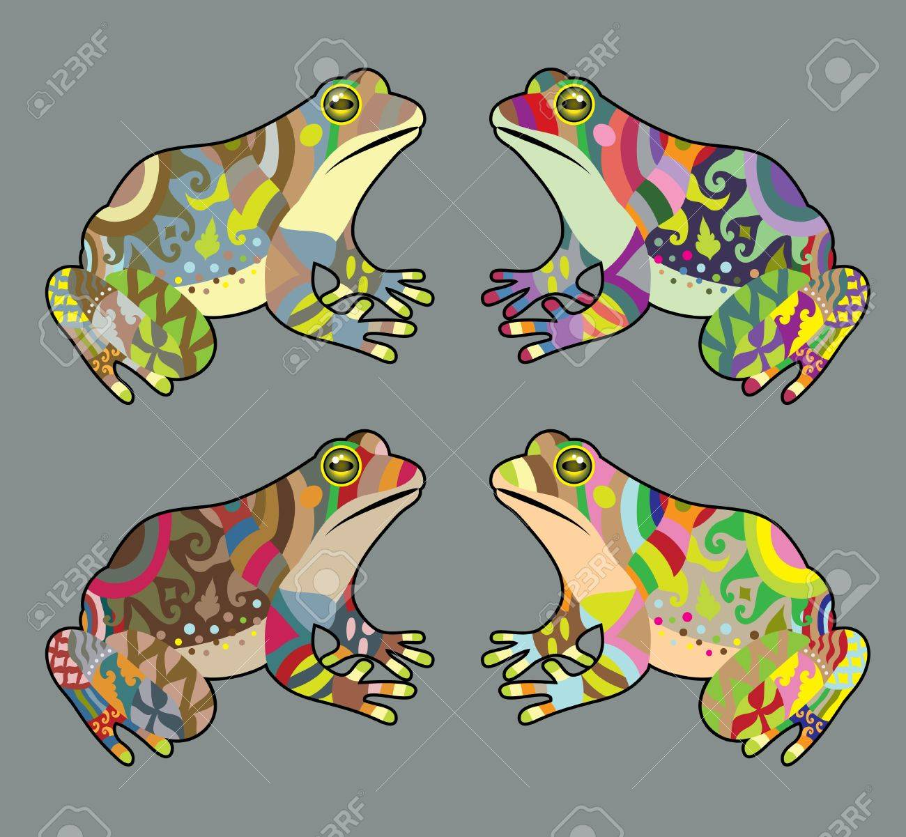 Colorful frog ornament vector Stock Vector - 15532693