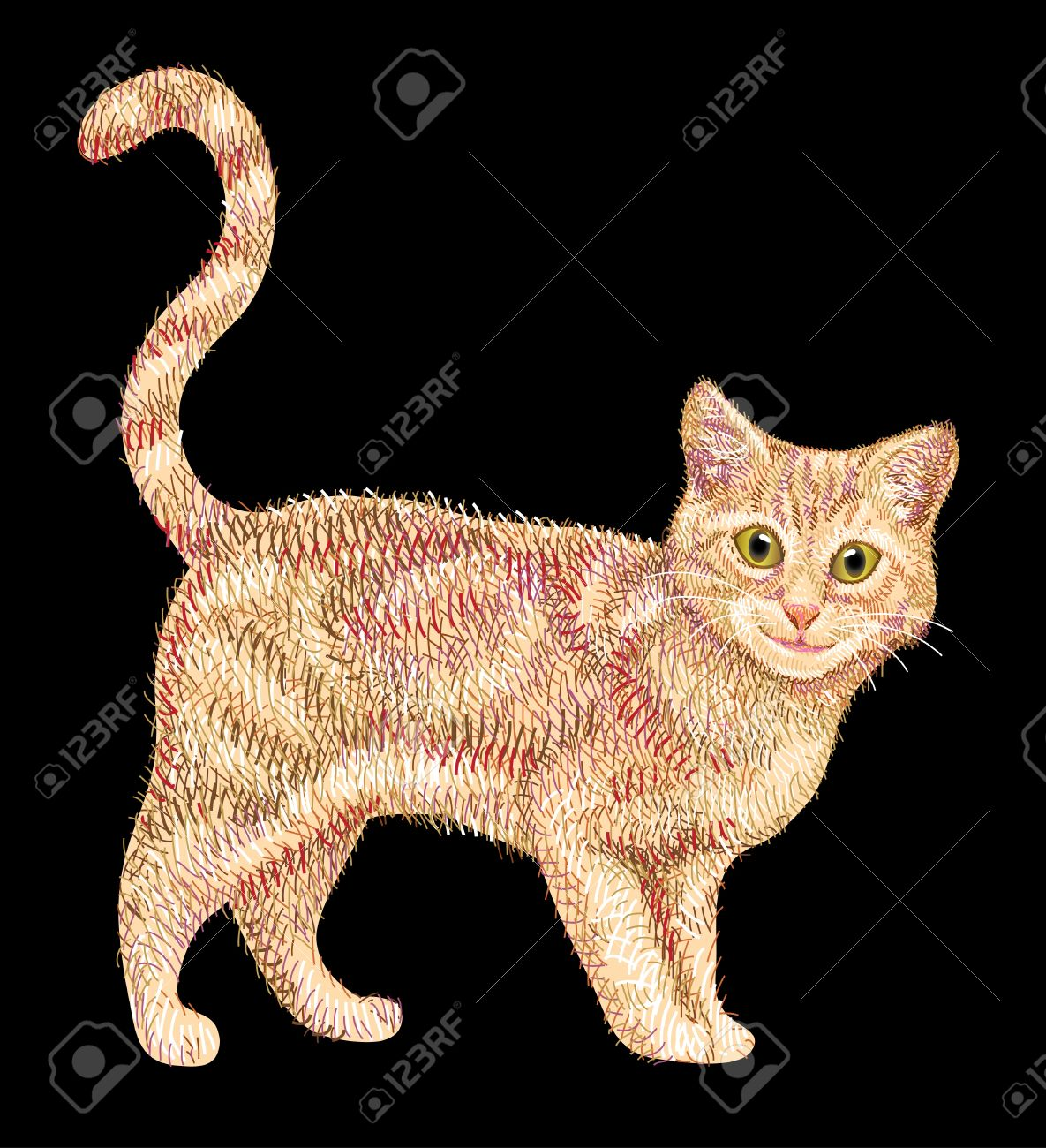 Cute cat drawing with lines and color combination. Beautiful pet animal sketch with artistic brush stroke Stock Vector - 17157879