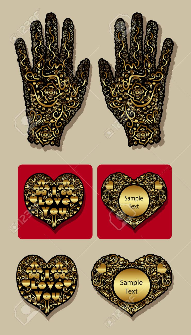 Golden heart and hand floral ornament decoration Stock Vector - 17265946