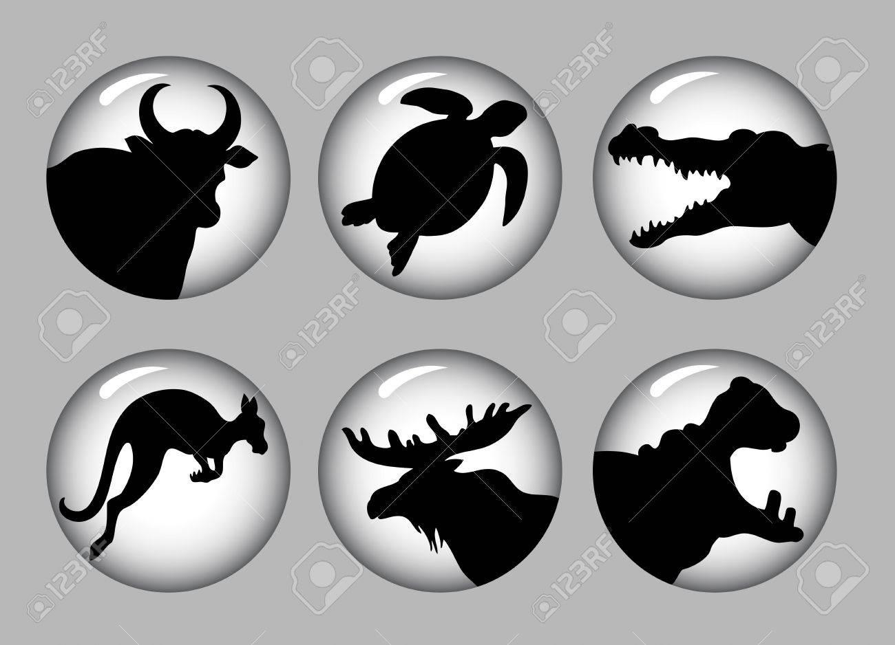 Animal Silhouette Icons black   white 2 Stock Vector - 18772440