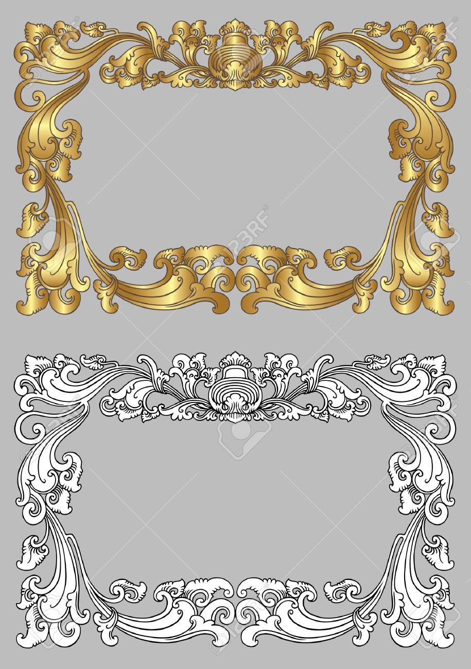 Balinese Ornament Frame 2c Blank Frame With Floral Ornament ...