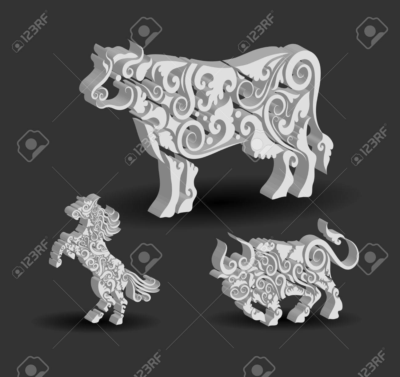 Animal ornaments - Animal Engraving Ornaments 3d Cow Horse And Bull Stock Vector 20212467