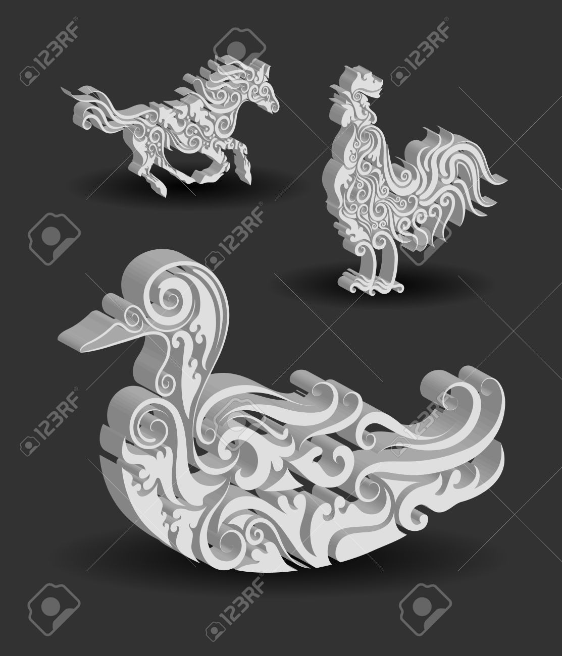 Animal ornaments - Animal Engraving Ornaments 3d Horse Rooster And Duck Stock Vector 20212784
