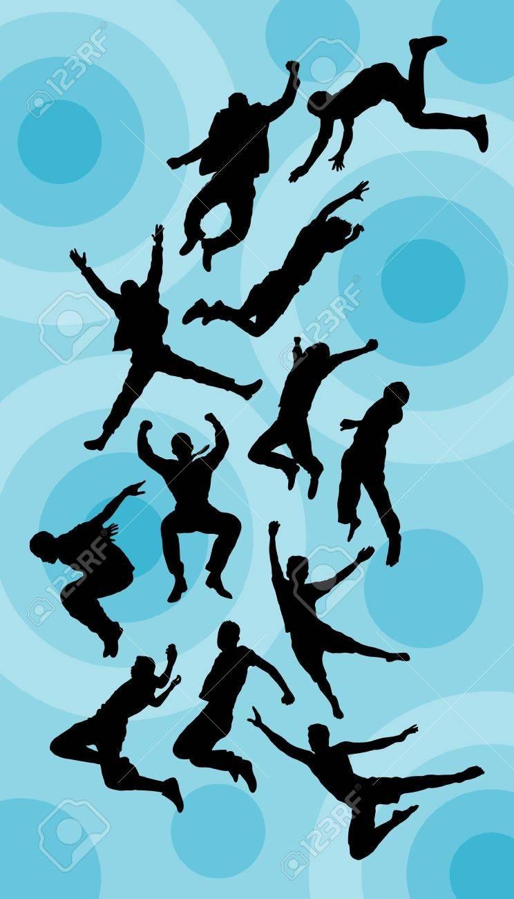 男をジャンプ シルエット ベクトル良い用のシンボル ロゴ ステッカー