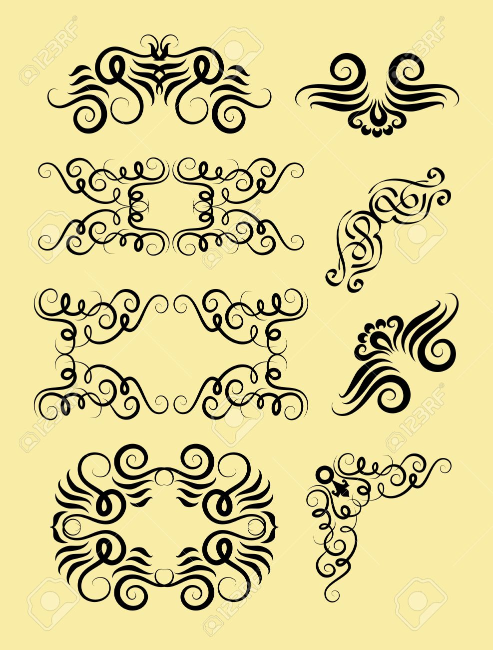 Corner Element Ornament Decorations Good Use For Tattoo Design Border Frame Pattern