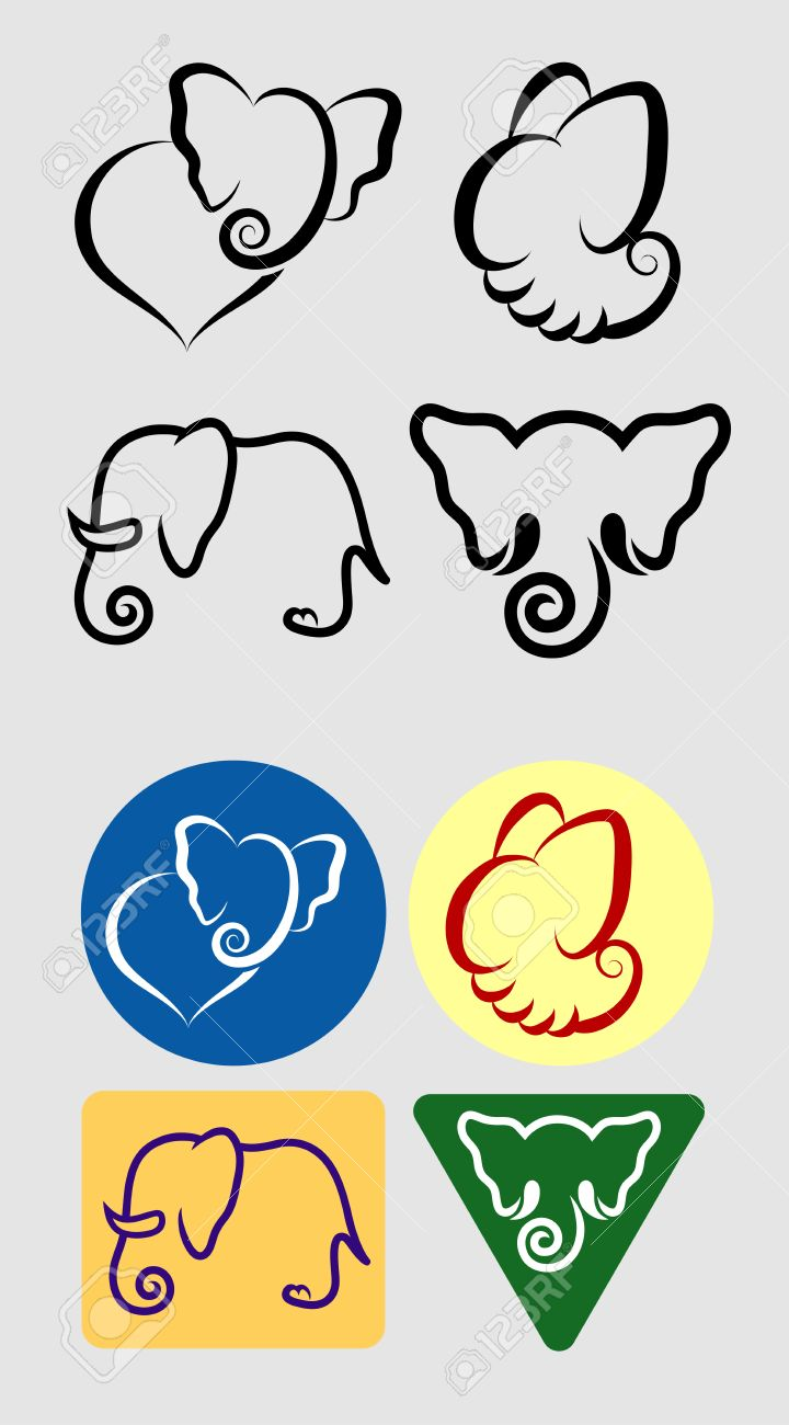 Elephant Symbols Monochrome and Color  Good use for your symbol, sticker, or any design you want  Easy to use Stock Vector - 24752862