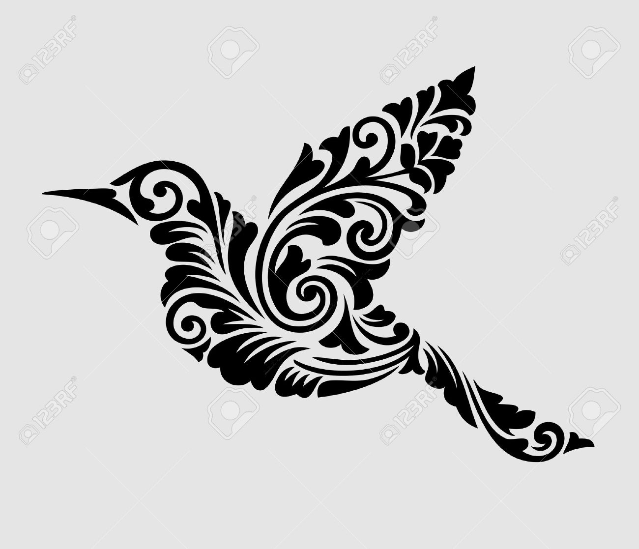 24834d8b42c24 Nice, clean, and smooth vector Flying bird with floral ornament decoration  Good use for