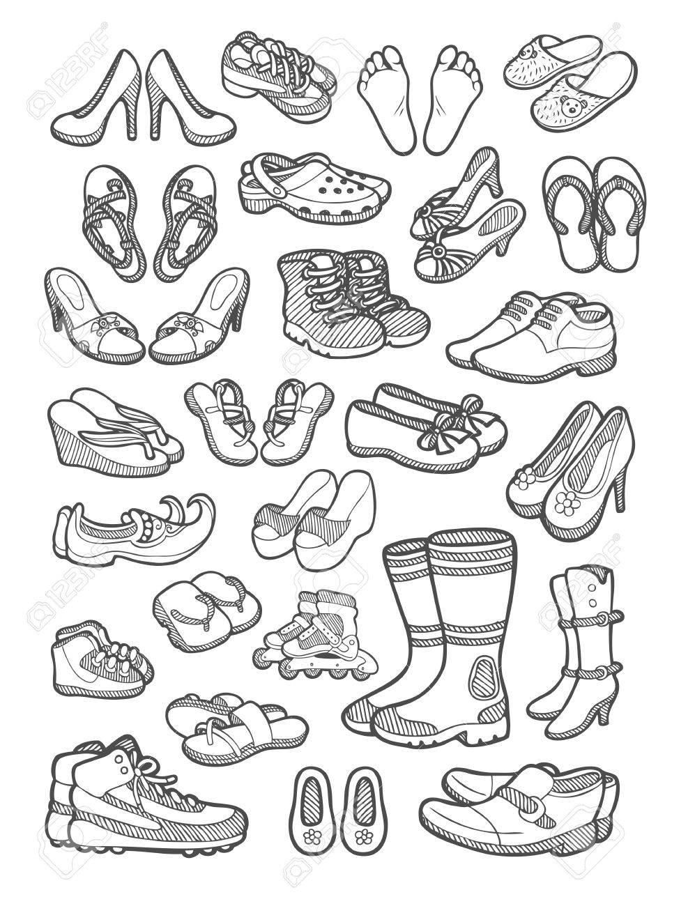 sports shoes 12cdb 213fa Icônes Et De Les Sandales Art Croquis Chaussures Libres Pied Clip qtIwpE