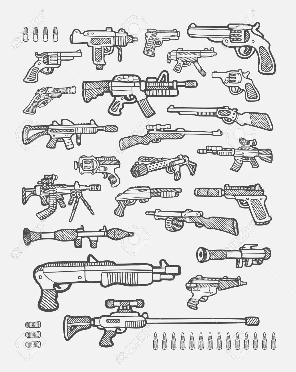 Set of gun weapon icons sketch easy to use stock vector 30679285