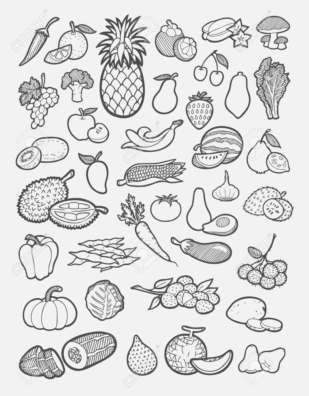 Set Of Fruit And Vegetable Icons Sketch Easy To Use Royalty Free