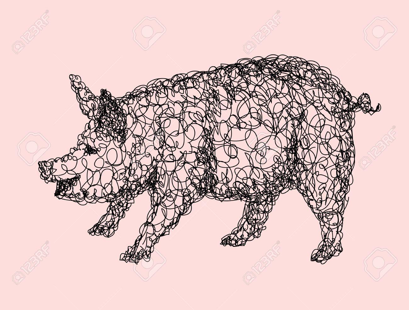 Pig Style Doodle Résumé Animal Dessin Noir Et Blanc Bon Usage Pour Illustration Symbole Mascotte Icône Ou De Toute Conception Que Vous Voulez