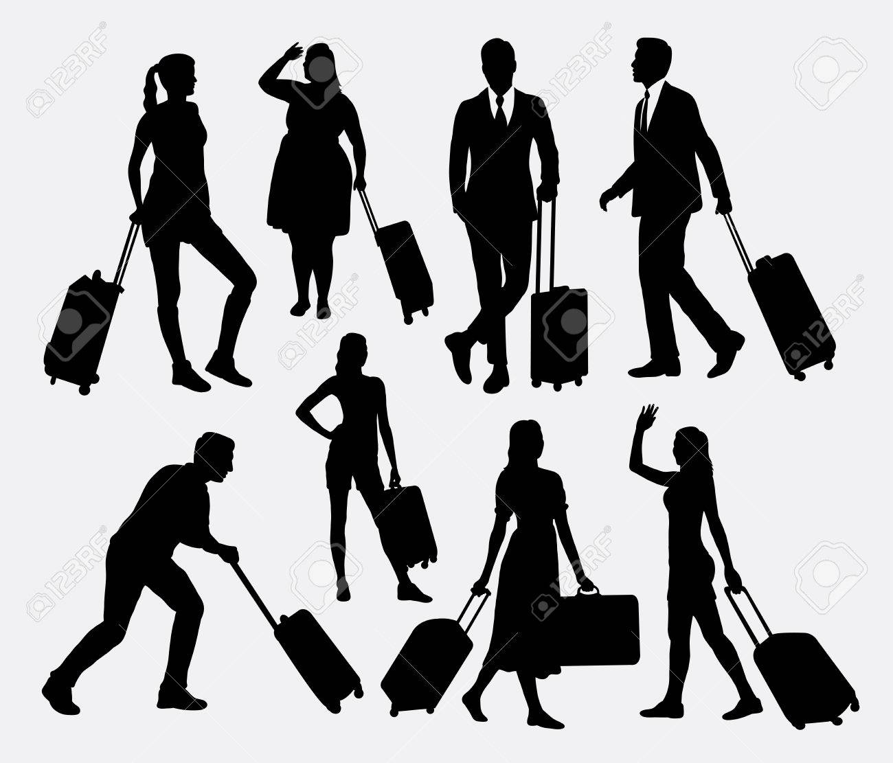 People male and female traveling silhouettes - 46756688