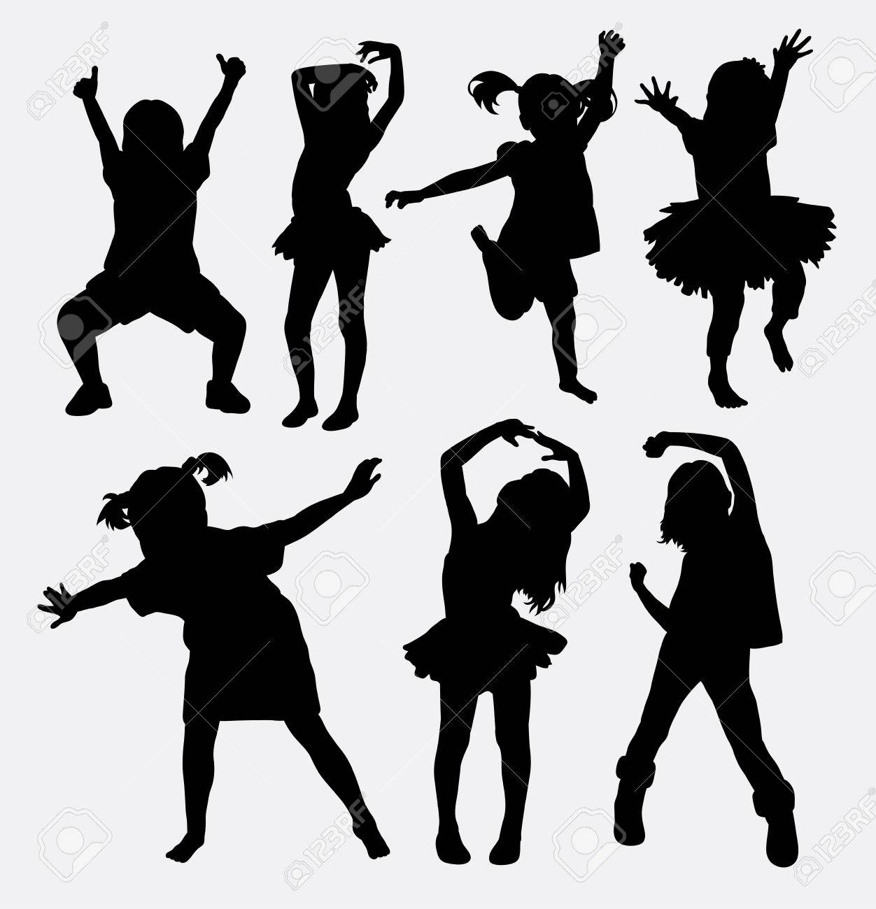Kid Little Girl Dancing Silhouettes Royalty Free Cliparts Vectors And Stock Illustration Image 46756745