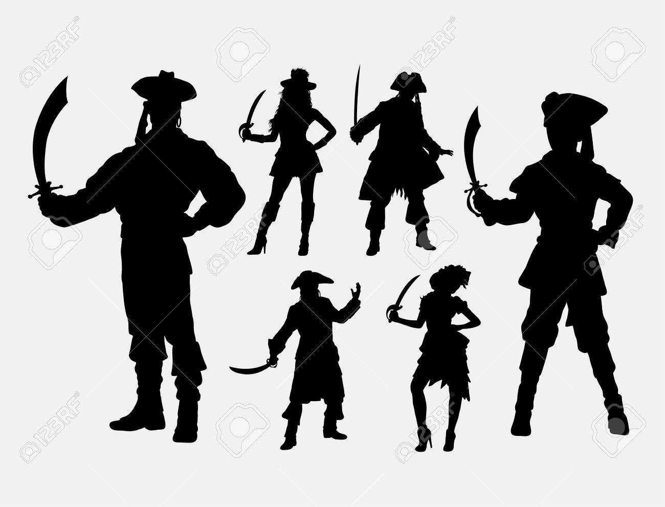 Pirates male and female silhouette good use for symbol web icon logo