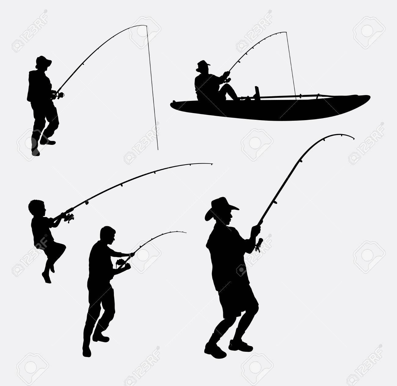 Gens De Pêche Silhouettes Bonne Utilisation Pour Le Symbole Logo Icône Web Mascotte Ou D Un Dessin Que Vous Voulez Facile à Utiliser