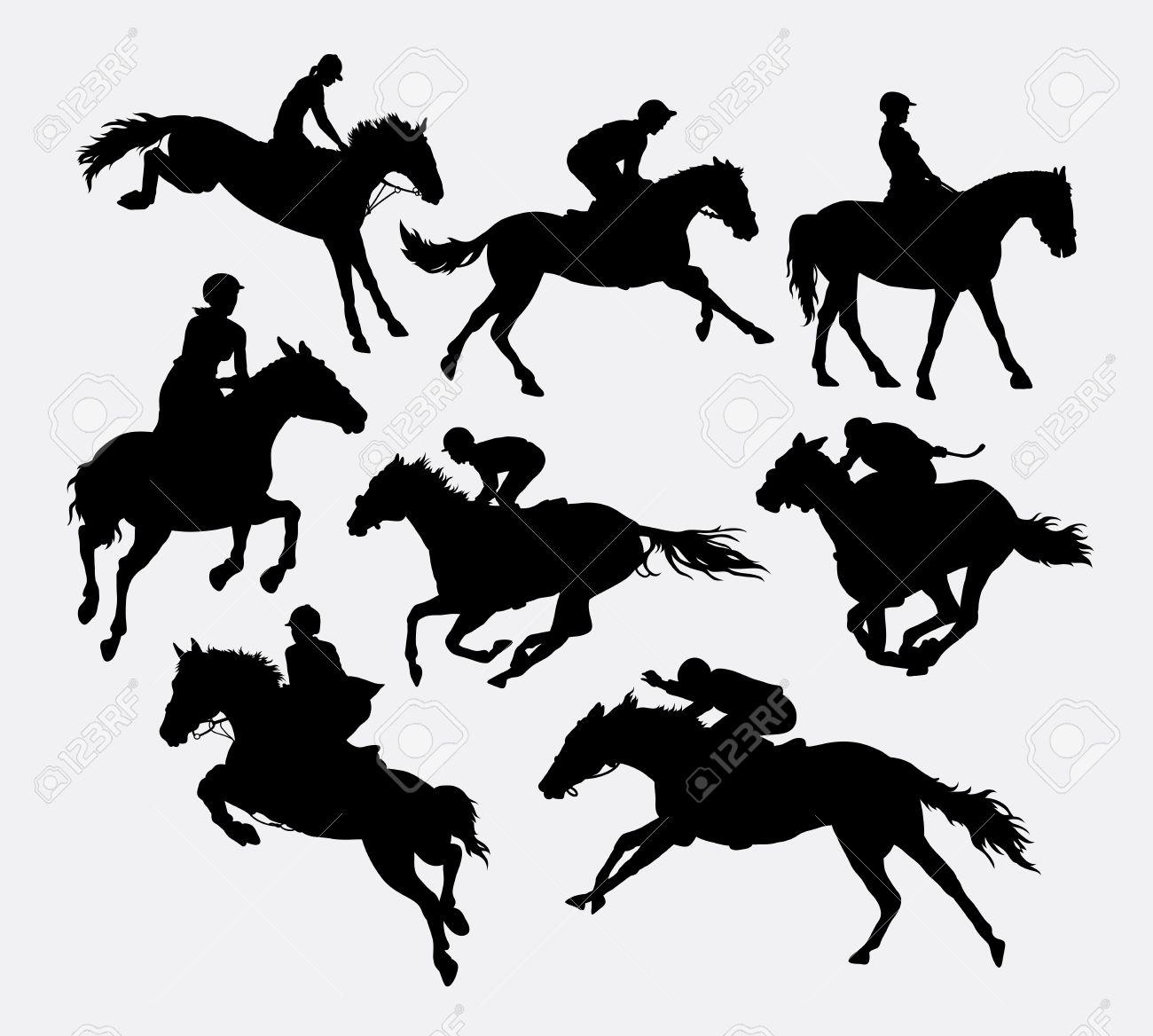 Jockey Riding Horse Silhouettes Good Use For Symbol Logo Web Icon Mascot