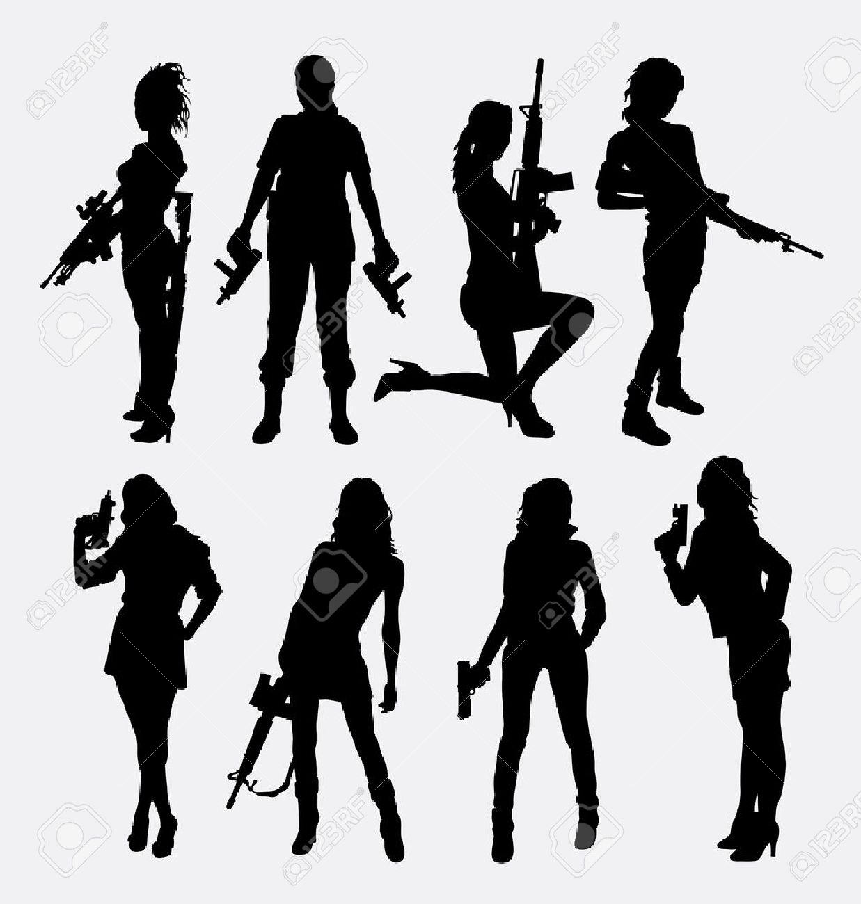 Woman and gun silhouettes. - 53381927