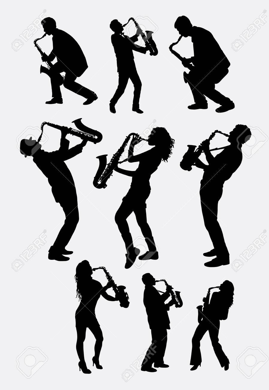 Saxophone instrument player silhouette. Male and female saxophonist poses. Good use ror symbol, logo, web icon, mascot, sticker design, sign, or any design you want. Easy to use. - 56325180