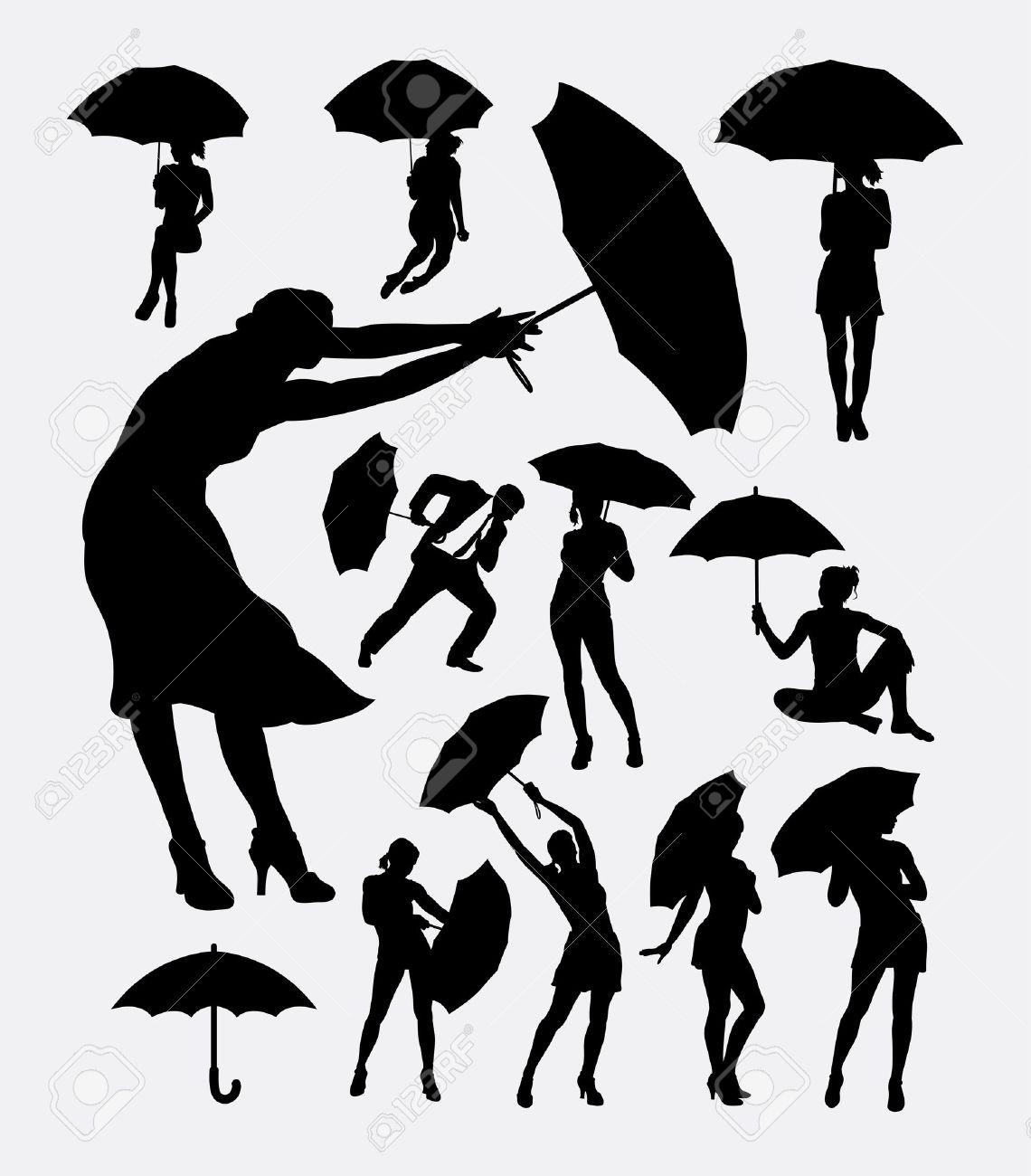 Las Personas Con La Silueta De La Acción Paraguas. Buen Uso De ...