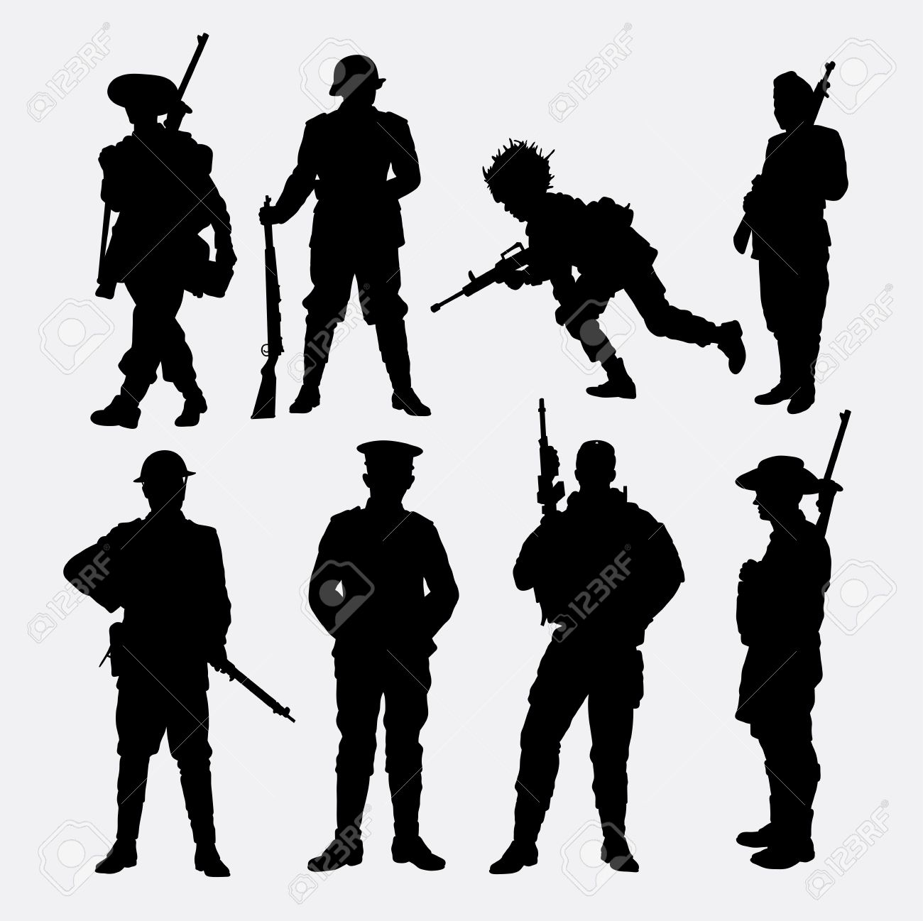 Army military soldier police silhouette good use for symbol mascot