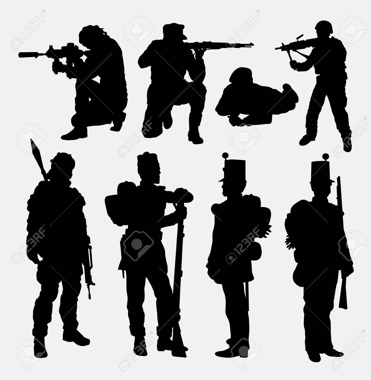 Soldier army military training and exercise silhouette good use for symbol