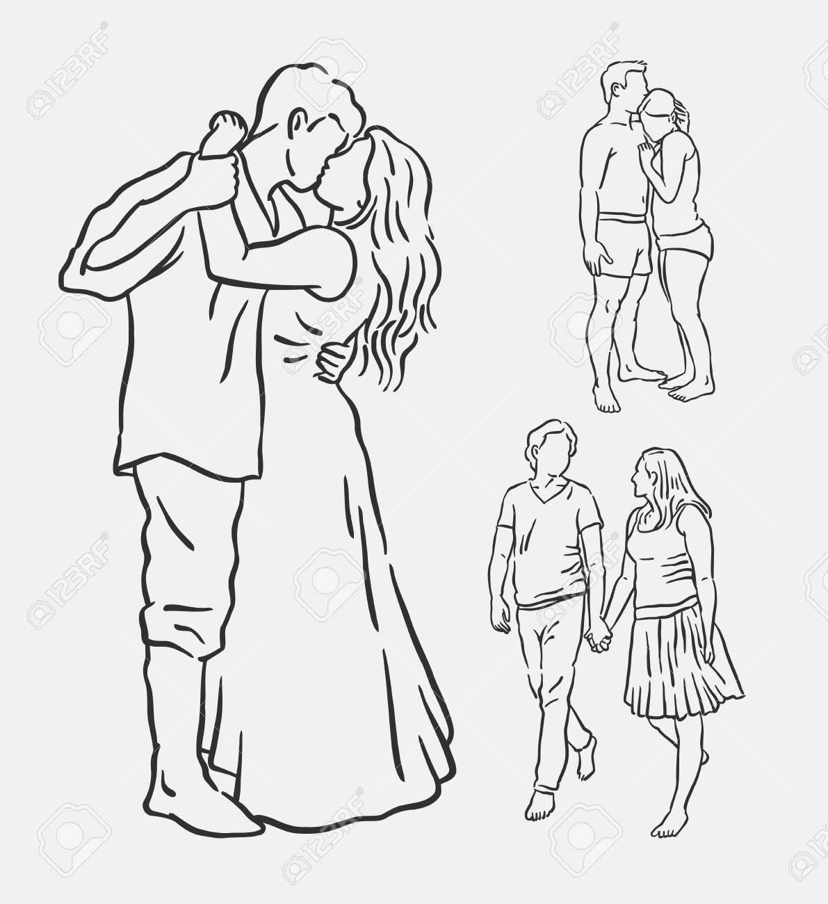 Amour Couple Main Romantique Activité Dessin Bon Usage Pour Symbole Logo Icône Web Mascotte Signe Autocollant Ou Tout Motif De Votre Choix