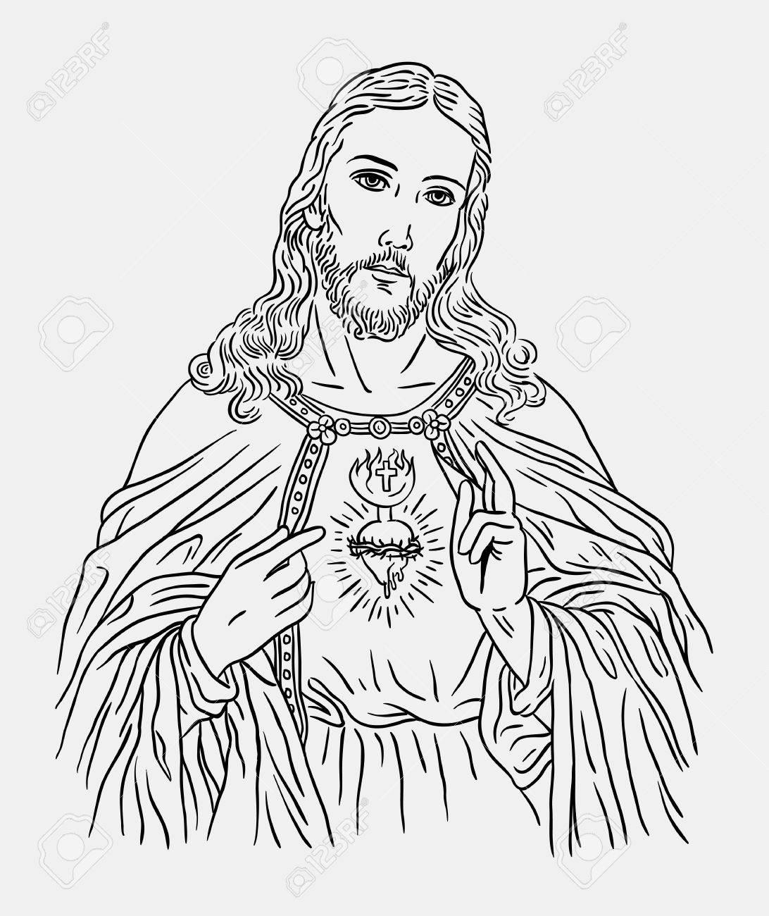 Line Drawing Of Jesus Christ Wiring Diagrams Harvester Public Circuit Online Simulator Docircuits Catholic Religion Art Style Good Use Rh 123rf Com On The Cross