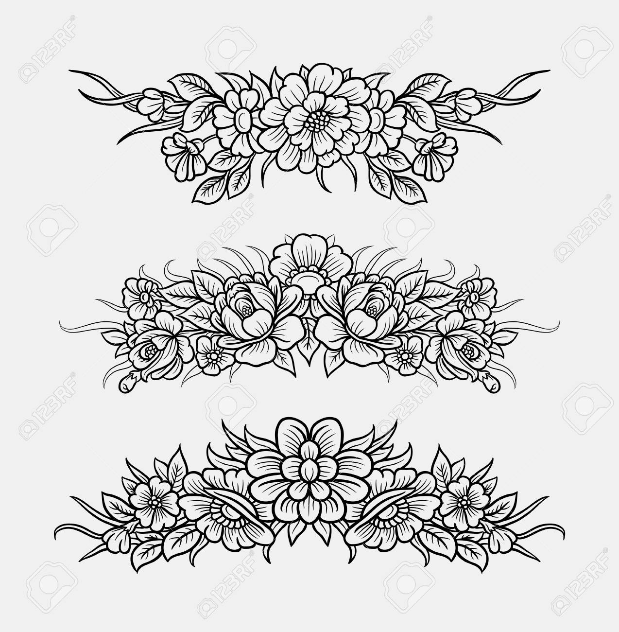 Flower And Leaves Ornament Decoration Line Art Drawing Style Good Use For Symbol Web