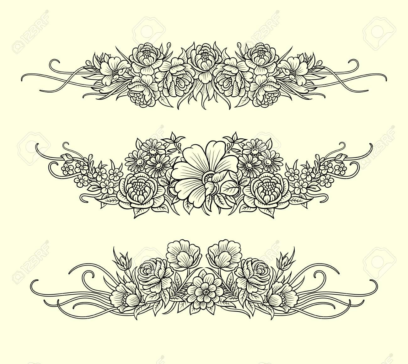Fleurs Et Feuilles Décoration D'ornement Ligne Art Dessin Style