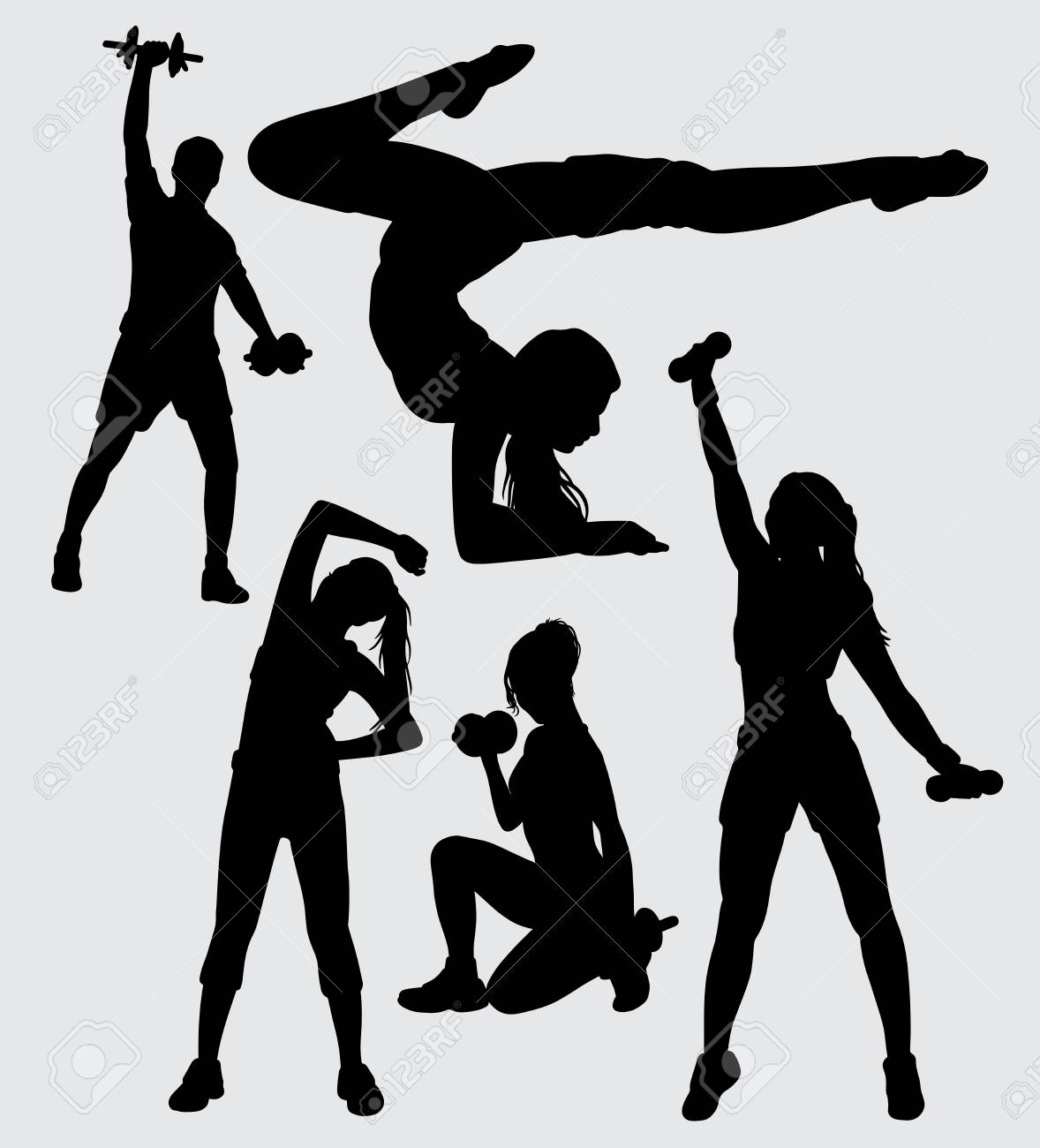 Fitness And Gym Male Female Silhouette Good Use For Symbol Logo Web