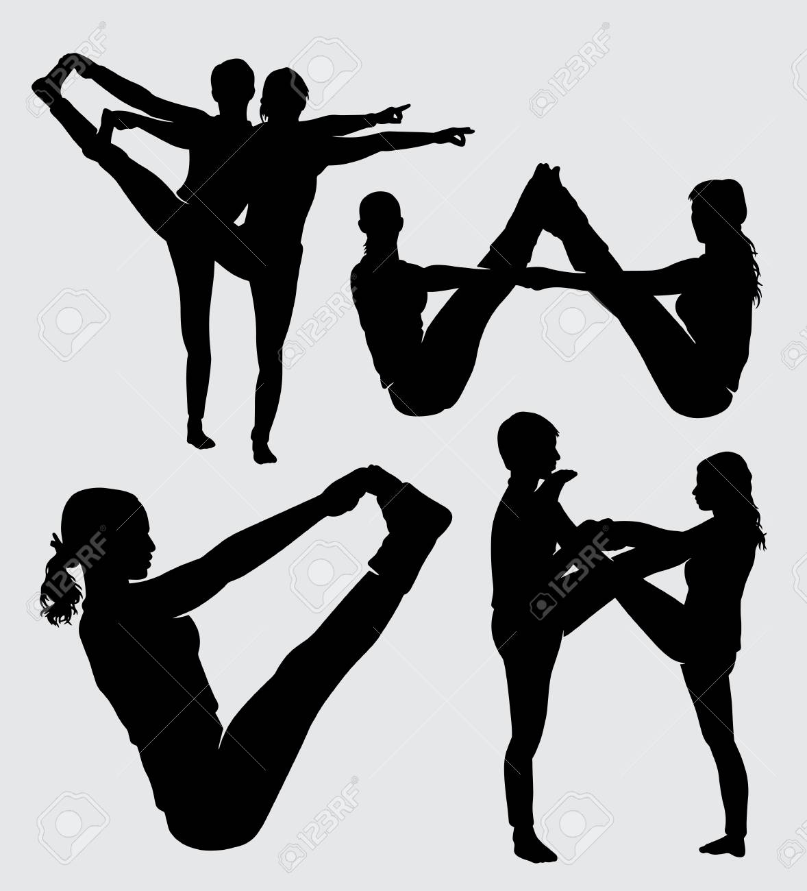 Fitness And Yoga Training Sport Silhouette Good Use For Symbol Logo Web Icon