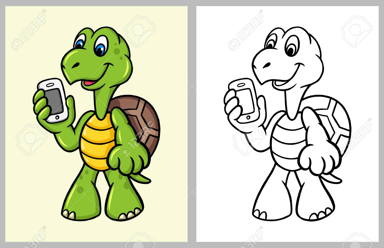 Turtle cartoon character with hand phone. good use for coloring..