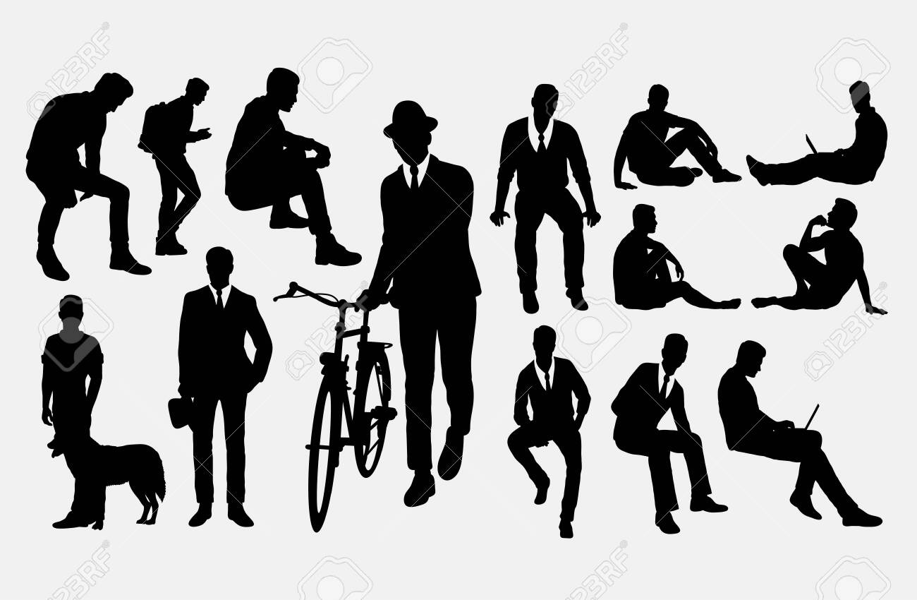 Man action silhouettes. Good use for symbol, logo, web icon, mascot, or any design you want. - 122420061