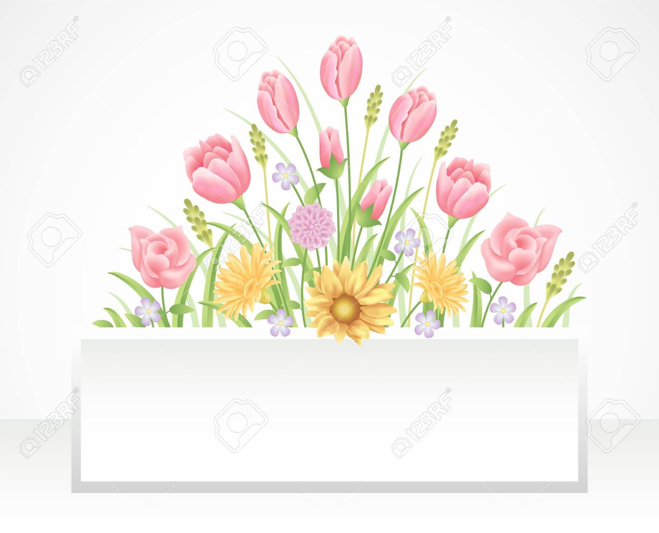 Floral frame colorful and beautiful rose flowers and leaves template decoration. - 137089937
