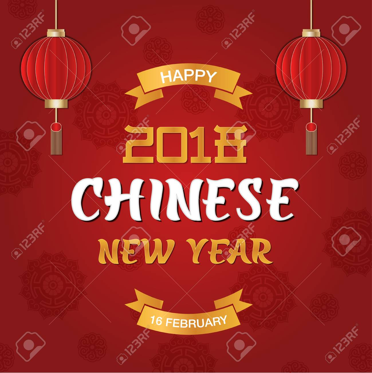 happy chinese new year party festive card design wiht banners and lanterns on red background