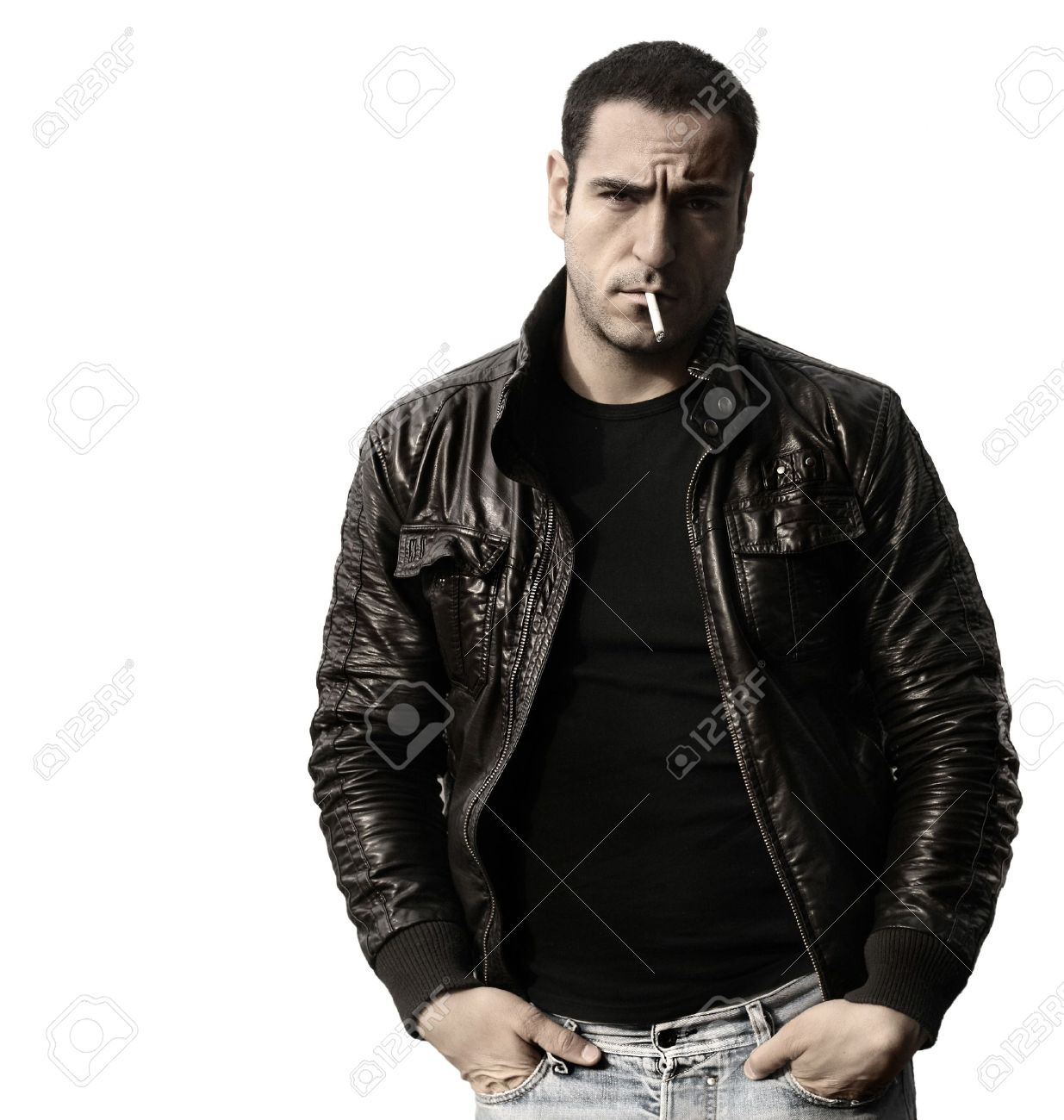 Portrait Of A Rebel Type Guy In Classic Leather Jacket With