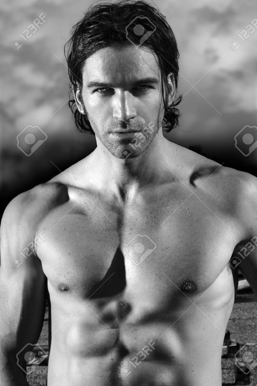 Fine art black and white portrait of a beautiful shirtless male model Stock Photo - 9893309