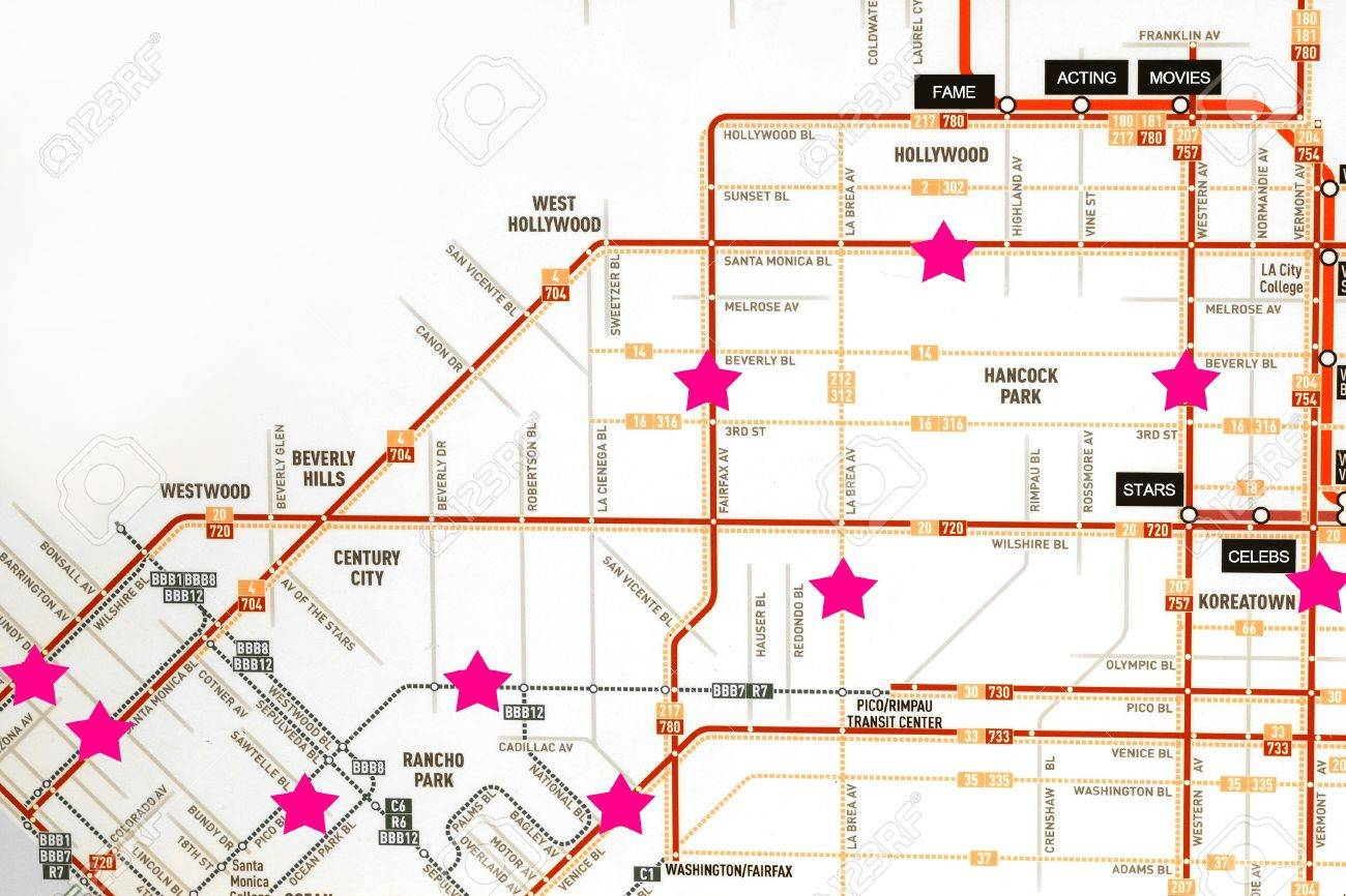 California Map Hollywood.Concept Photo Of A Map Of Hollywood California With Points Of