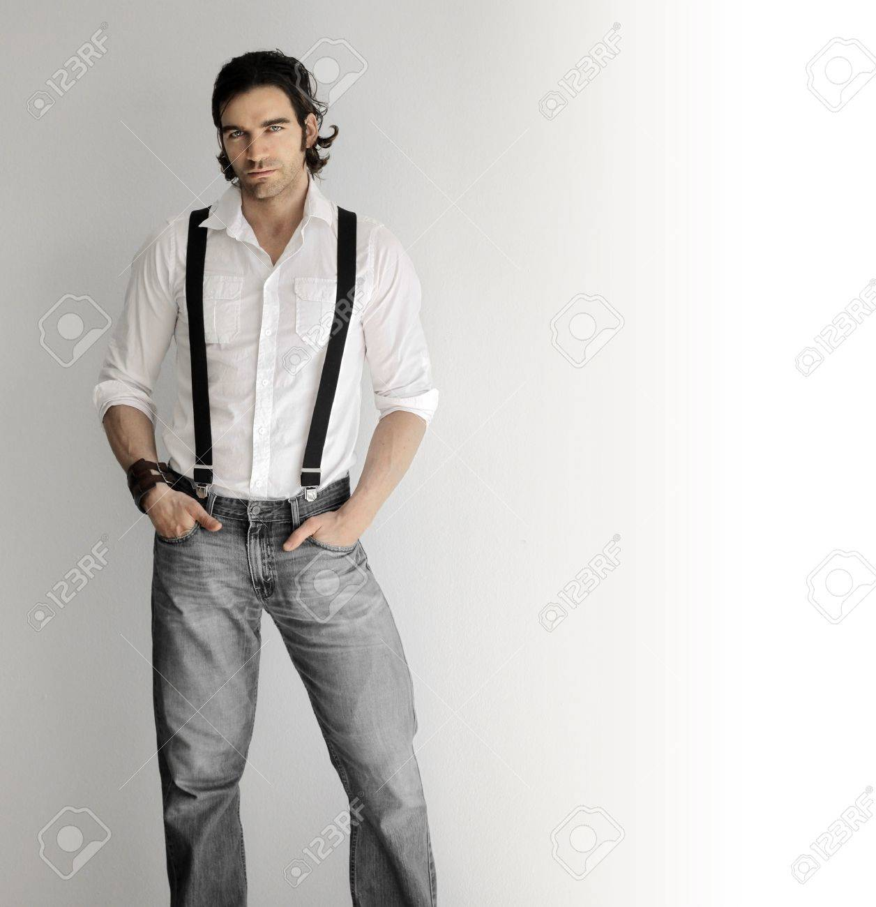 white shirt with suspenders