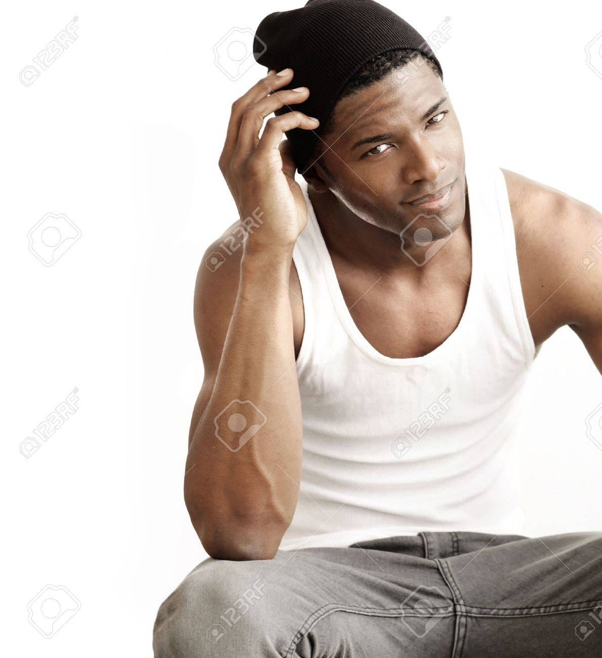 Studio portrait of a good looking young black man against neutral background with copy space Stock Photo - 12478032