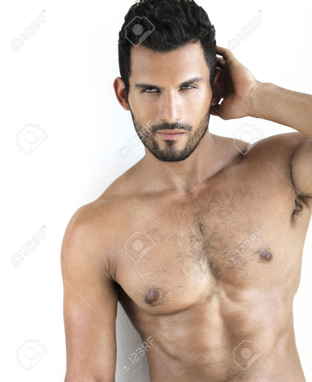 Sexy shirtless fit male model against white background Stock Photo - 15153331